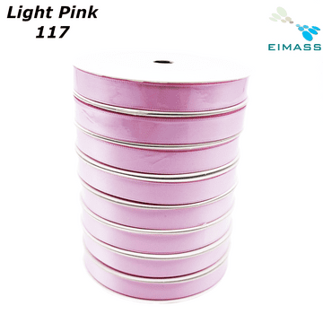 Light Pink (117) Premium Double Sided EIMASS® Satin Ribbons 6mm 10mm 15mm 20mm 25mm 38mm