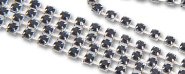Montana Navy Blue in Silver Chain, EIMASS® Grade A World Class Rhinestone Cup Chain Trimming