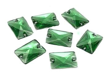 Peridot Green Rectangle Shape, EIMASS® Resin Sew on Glue on Crystals