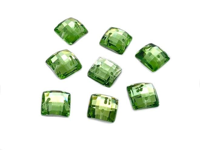 Peridot Lime Green Chessboard style Square, EIMASS Resin Crystals, Sew or Glue on Flat Back Rhinestones