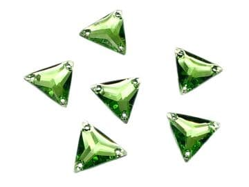 Peridot Lime Green Triangle, EIMASS® Resin Crystals, Sew on Glue on  Stones