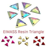 Resin Triangle Shape Sew or Glue on Flat Back Crystals