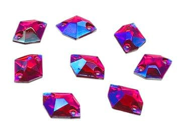 Rose AB Hexagon, EIMASS Resin Crystals, Sew or Glue on Flat Back Rhinestones