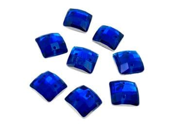 Sapphire Blue Chessboard style Square, EIMASS Resin Crystals, Sew or Glue on Flat Back Rhinestones