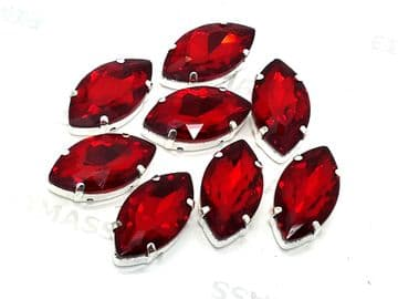 Siam Red Navette Horse Eye, EIMASS® 3511 Sew or Glue on Single Stone Setting Crystals