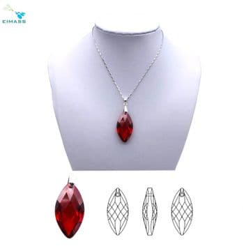 Siam Red Navette Horse Eye Pendant - EIMASS® Elements Zircon Gifts, Swarovski Alternative