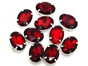 Siam Red Oval, EIMASS® 3511 Sew or Glue on Single Stone Setting Crystals