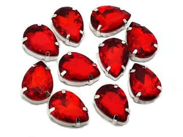 Siam Red Teardrops, EIMASS® 3511 Sew or Glue on Single Stone Setting Crystals