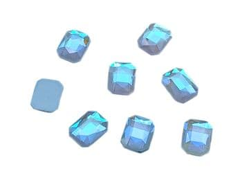 Sky AB Rectangle 6x10mm, EIMASS® 8830 Tiny Glass Crystals - Nail Art  Size 6x10mm
