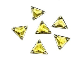 Topaz Gold Triangle, EIMASS® Resin Crystals, Sew on Glue on  Stones