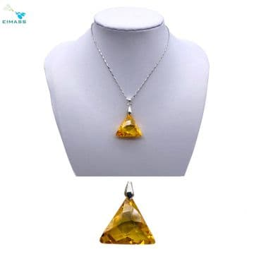 Topaz Gold Triangle Shape Pendant - EIMASS® Elements Zircon Gifts, Swarovski Alternative