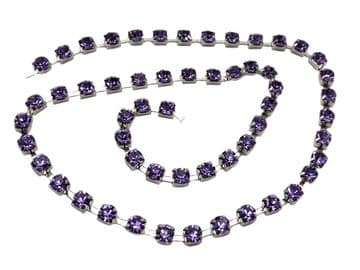 Violet in Silver Chain, EIMASS® Grade A World Class Rhinestone Cup Chain Trimming Wholesale