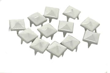 White Pyramid Studs, Rivets to Embellish Bags, Shoes, Leather Jackets, Clothes, Craft, Claw Studs