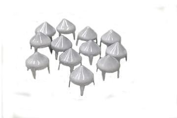 White Spike Cone Studs, Rivets to Embellish Bags, Shoes, Costumes, Belts, Dresses, Craft