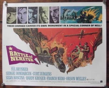 Battle of Neretva, Half Sheet Movie Poster, Yul Brynner, Orson Welles, '71