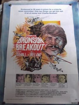 Breakout, Movie Poster, Charles Bronson, Jill Ireland, Robert Duvall '75