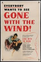 Gone With the Wind US One Sheet Poster, Clark Gable, Vivien Leigh, 1939