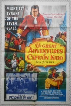 Great Adventures of Captain Kidd, Original Movie Poster, Chapter 7, Serial, '53