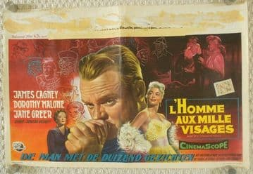 Man of a Thousand Faces, Original Belgian Movie Poster, James Cagney, '57