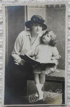 Miss Gladys Cooper with child, Vintage Postcard, Actress in Rebecca, c1913