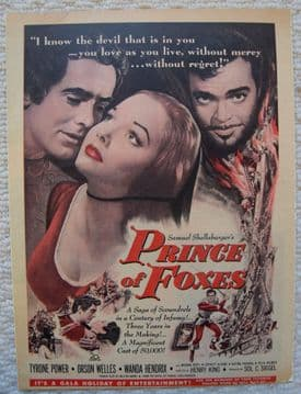 Prince of Foxes (1949) - Orson Welles | Vintage Trade Ad