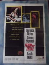 Term of Trial, Movie Poster, Laurence Olivier, Simone Signoret, Sarah Miles, '62