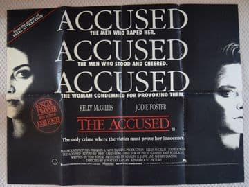 The Accused, UK Quad Poster, Jodie Foster, Kelly McGillis, '88