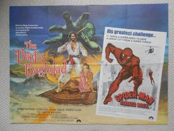 Thief of Baghdad/Spiderman Strikes Back, Original Combo UK Quad Film Poster, '78