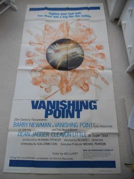 Vanishing Point, Original 3 sheet Poster, Barry Newman, Dean Jagger, '71