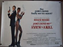View to a Kill, Original UK Quad Poster, Roger Moore is 007, Grace Jones, '85