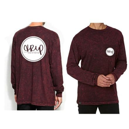 The Trip Badge Pocket L/S T-Shirt - Maroon Tie Dye Medium