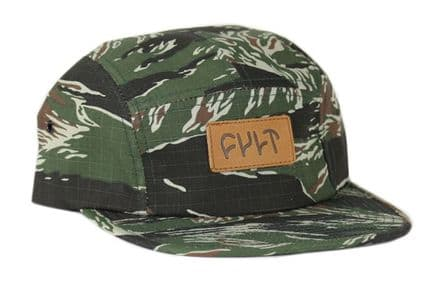 Cult 5 Panel Camper Hat - Tiger Camo With Leather Patch