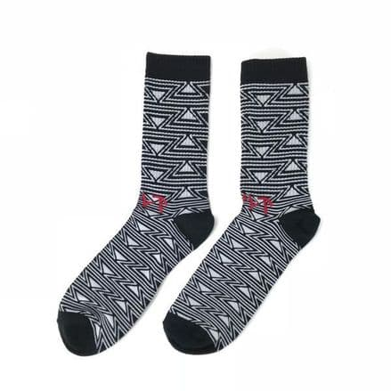 Cult Pattern Socks - Black And White With Red Logo