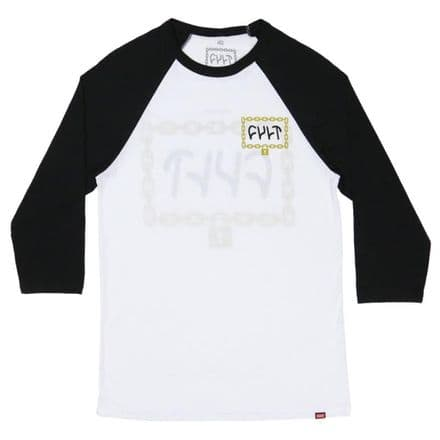 Cult Throw Away The Key 3/4 Sleeve T-Shirt - White With Black Sleeves Large