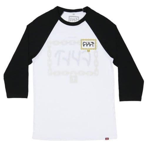 Cult Throw Away The Key 3/4 Sleeve T-Shirt - White With Black Sleeves XL