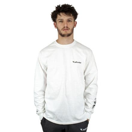 Tall Order Faded Sleeve Logo Long Sleeve T-Shirt - White Large