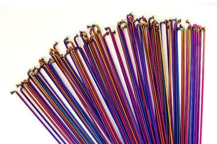 Total BMX Double Butted Spokes (Pack Of 40) - Rainbow 188mm