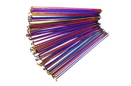 Total BMX Double Butted Spokes (Pack Of 40) - Rainbow 194mm