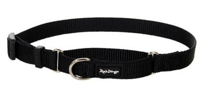 Red Dingo Dog collar Half Check (Martingale) Collar Classic Black