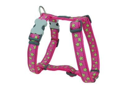 Red Dingo Lime Green Stars on Hot Pink Dog harness
