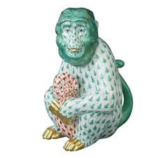 Herend Porcelain Fishnet Figurine of a Mother Monkey with Cub