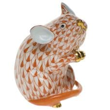 Herend Porcelain Fishnet Figurine of a Mouse