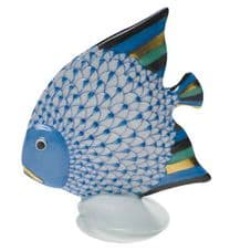 Herend Porcelain Fishnet Figurine of a Fish on a Shell