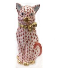 Herend Porcelain Figurine of a Cat with Ribbon