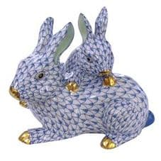 Herend Porcelain Fishnet Figurine of a Mother & Baby Bunny