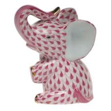 Herend Porcelain Fishnet Figurine of a Baby Elephant Sitting
