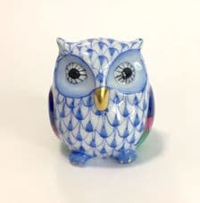 Herend Porcelain Fishnet Figurine of a Baby Owl