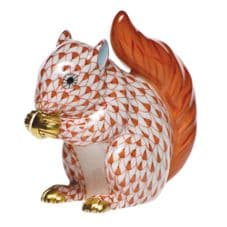 Herend Porcelain Fishnet Figurine of a Baby Squirrel