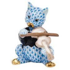 Herend Porcelain Fishnet Figurine of a Cat with Violin