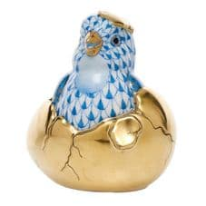 Herend Porcelain Fishnet Figurine of a Chick, Hatching from Egg